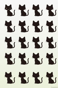 Black Cat/Kitty Pattern Wallpaper