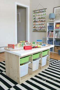 21 IKEA Toy Storage Hacks Every Parent Should Know! - - Sharing 21 awesome IKEA storage hacks for all your kids toys. These IKEA toy storage hacks will help you to get organised on a minimum budget. Ikea Kids Playroom, Playroom Organization, Playroom Ideas, Organization Ideas, Playroom Design, Basement Ideas, Ikea Trofast Storage, Ikea Storage Kids, Trofast Hack