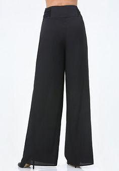 bebe Contrast Sash Pleated Pants