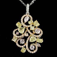 18K MULTI-TONE GOLD 4.06CT DIAMOND PENDANT - IMPERRION™ - Luxurious Jewelry & Beyond