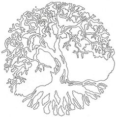Black Outline Tree Of Life Tattoo Stencil By Lucky Cat