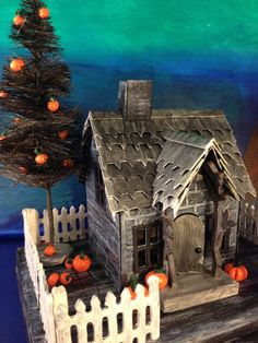 Spiky Shingled House from Tim Holtz' Village Dwelling die for Halloween. More on my blog - withglueandglitter.blogspot.com
