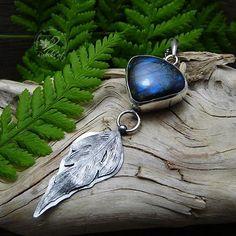 Labradorite Necklace Blue Stone Pendant Silver Feather