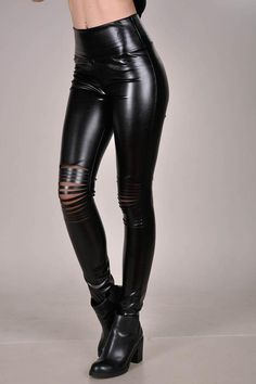 faec0af096067 Liquid Leggings, Wet Look Leggings, Ripped Leggings, Pleather leggings,  High Waisted Leather Pants w