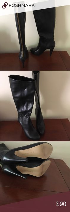 Banana Republic Black Knee High Boots Black genuine leather knee high boots from Banana Republic. Gold zippers up the back. Size 7.5. Only worn once. No scuffing on the heels. Only slight wear on the sole. Banana Republic Shoes Heeled Boots