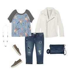 Denim Outfit Ideas from Dia.com: Brighton Stationed Necklace , Alexis Knit Top, & Perla Faux Leather Moto