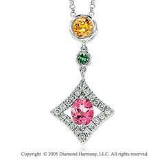 Diamond Rainbow Garnet Citrine Topaz Drop Pendant