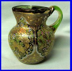 Vintage Moser Art Glass Green Creamer Raised Gold Design with Enamel Flowers | eBay