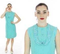 60s Mod Barkcloth Dress Vintage Shift Wiggle by neonthreadsdesigns