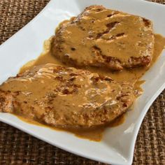 """These pork chops are """"breaded"""" with a little almond meal, and served with a delicious mustard sauce.  [#SouthBeachDiet Phase One - Kalyn's Kitchen]"""