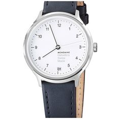 Mondaine 'Helvetica No.1 Regular' Round Leather Strap Watch, 33mm (€355) ❤ liked on Polyvore featuring jewelry, watches, wristband watches, mondaine watches, leather-strap watches, round watches and mondaine