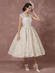 Robe de Mariée courte en dentelle Champagne Vintage Ball Gown perler Backless thé avec ceinture Milanoo