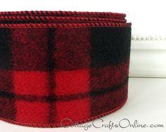 Red//Black Woodland Plaid//Check Ribbon 5yds 3//8