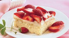 Enjoy this delicious coffee cake dessert topped with strawberries.