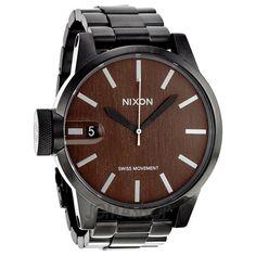 Nixon Chronicle Dark Woodgrain Dial Mens Watch A1981107