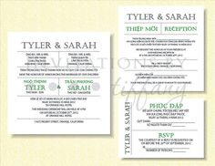 Blue Navy and Silver Vietnamese Wedding Invitations Navy