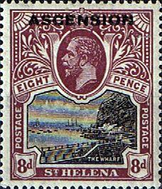 Ascension Islands Stamps 1922 King George Overprints SG 6 Fine Mint Scott 6 Other Ascension Island Stamps HERE