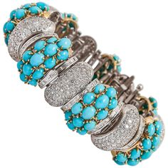 Turquoise Diamond Gold Bracelet   From a unique collection of vintage link bracelets at https://www.1stdibs.com/jewelry/bracelets/link-bracelets/