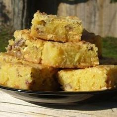 White Chocolate Blondies - I saw a photo on Pinterest for yummy looking White Chocolate Blondies, but there was no recipe linked, so I tracked one down. This one has 1900 saves!
