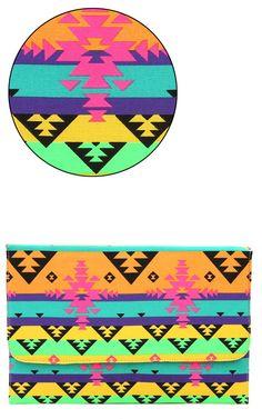 Neon Aztec Envelope Clutch ORANGE