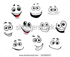 Funny cartoon emotional faces set for comics design. Jpeg version also available in gallery