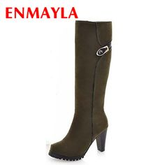 Find More Women's Boots Information about ENMAYLA New Fashion Winter Warm Long Boots for Women Knee High Zip Charm Round Toe Square High Heels Solid New Style Lady Shoes ,High Quality fashion tips knee high boots,China boot galleries Suppliers, Cheap boot sandal from Chengdu Ying Meier Shoes CO., LIMITED on Aliexpress.com