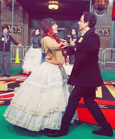 Laura Osnes and her Cinderella co-star Santino Fontana in rehearsal for Macy's Thanksgiving Day Parade. Photo by Taylor Hill.