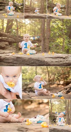 baby photography, cake smash session, one year old photography, outdoor infant session, ducky session, infant photo, baby boy pictures, creek