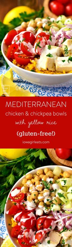 Description Mediterranean Chicken and Chickpea Bowls with Yellow Rice are healthy, gluten-free, and feature pops of fresh Mediterranean flavor like lemon and garlic. Chipotle Burrito, Mediterranean Chicken, Mediterranean Recipes, Chicken Chickpea, Clean Eating, Healthy Eating, Healthy Food, Salad Recipes, Healthy Recipes
