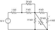 Voltage Divider PROBLEM(3) : Use voltage division to find the current i through the 30 kΩ resistor and the voltage v across the 6 kΩ resistor.