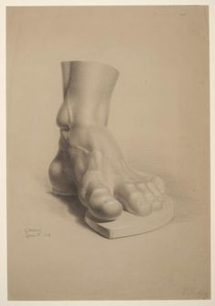 Study of a Plaster Cast of a Foot Luke Fildes (1843-1927) Britain 1863 Black heightened with white chalk on buff wove paper Width 45.4 cm x height 67.4 cm. Victoria & Albert Museum. No. E.1951-1909