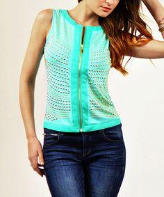 Mint Stud Stripe Zip-Up Vest by Carmin