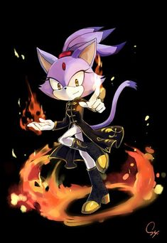 Blaze the Cat fan art - from Sonic the Hedgehog. Wow, Blaze looks even more awesome in that outfit!