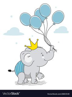 Happy elephant with crown and balloons Royalty Free Vector Elephant Balloon, Elephant Nursery Art, Elephant Theme, Clipart Baby, Image Elephant, Diy Notebook Cover, Happy Elephant, Colorful Wallpaper, Crown