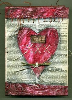 make this collage with kids using newspaper, simple treading, twigs and paper trim.