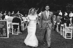"""This newly married couple look fantastic walking back up the aisle after saying """"i do"""" at their Arrington Vineyards wedding.  To learn more about this Nashville wedding venue, click the image above. Photo credit: Madi Flournoy Photography"""