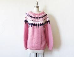 vintage pink nordic sweater