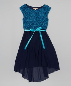 Look at this #zulilyfind! Navy Tulle Hi-Low Dress #zulilyfinds