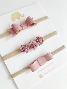 Dusty Rose Pink Baby Headband Set