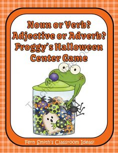 Noun Verb Adjective Adverb Froggy's Halloween Book Matching Center Game for Common Core!