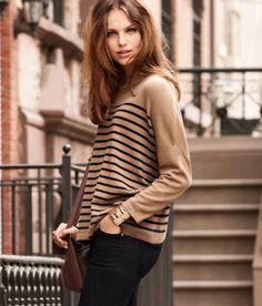 stripes, black, tan, fashion