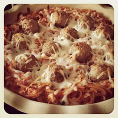 baked spaghetti pie: 2 cups cooked pasta, toss with 1 cup sauce, 1/2 cup ricotta or cottage cheese, top with meatballs and shredded mozzarella. Bake 30 minutes, or until set. Enjoy!