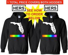 FLORIDA PRIDE Hers and Hers Lgbtq Pride Hoodie by ALLGayTees