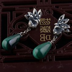 a8a4d6263 Silver Phoenix Earrings - Malachite Droplets, handcrafted from sterling  silver and available at https: