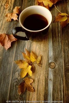 - mug-of-coffee-on-wooden-table-with-autumn-leaves Nice picture for Autumn! Need to check out more from this site. Coffee Is Life, I Love Coffee, Best Coffee, Coffee Break, My Coffee, Morning Coffee, Morning Morning, Coffee Lovers, Autumn Tea