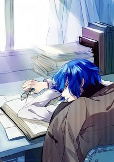 Anime guy fell asleep either doing his homework, studying or reading.