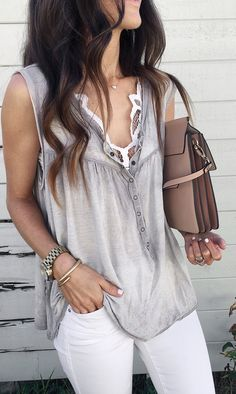 #spring #outfits  Grey Blouse & White Skinny Jeans