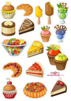 Наборы скрапбукинг высечек с десертами (6 шт.) + исходные файлы | Скрапинка - дополнительные материалы для распечатки для скрапбукинга Paper Dolls Printable, Printable Stickers, Cute Stickers, Planner Stickers, Cute Food Drawings, Kawaii Drawings, Monogram Wallpaper, Cake Vector, Planner Doodles