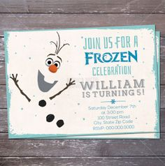 Printable Olaf Frozen Inspired Birthday Invitation / Frozen Party / Frozen Birthday