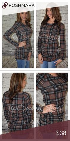 "Long Sleeve Mocha Plaid Tunic Top with Ruching Long Sleeve Mocha Plaid Tunic Top with Side and Cuff Ruching.   Material 96% Polyester 4% Spandex Hand wash only, no bleach, hang dry Made in the USA  Bust: S-17"", M-18"", L-20"" Hips: S-18"", M-18.5"", L-19.5"" Length: S-34.5"", M-37.5"", L-39"" Sleeve length: S-18"", M-19"", L-19"" *Measurements are approximate  Model is a size 4 and is wearing a small. Tops Tunics Plaid Tunic, Clothes For Sale, Final Sale, Fashion Tips, Fashion Design, Fashion Trends, Long Sleeve Tees, Tunic Tops, My Style"